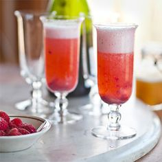 Peach Melba Mimosas Recipe