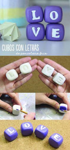 Cubos de porcelana fría súper fáciles de hacer. Escribe la palabra que tu quieras en ellos y úsalos para decorar tu recámara. Te digo cómo hacerlos.