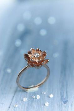 18K gold Blume Verlobungsring, Diamant-Ring, rose Goldring, einzigartigen Verlobungsring, Vorschlag Ring, Lotus Ring, Goldring, rot gold ring
