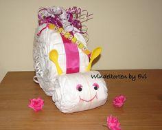 Windelschnecke mit Namen 'Marie' personalisiert; von Windeltorten By Evi auf DaWanda.com - das etwas andere Babygeschenk