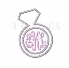 Diamond Ring Applique Embroidery Design Machine Embroidery BX Instant Download Bridal Monogram Applique 4x4 5x7 6x10
