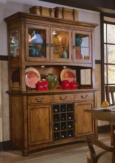 China Cabinet In Rustic Pecan Finish w Wine Storage & Glass Front Doors Home Decor Furniture, Rustic Furniture, Rustic China Cabinet, Glass Front Door, Front Doors, Cabinets With Crown Molding, Dining Room Inspiration, Wine Storage, French Country Decorating