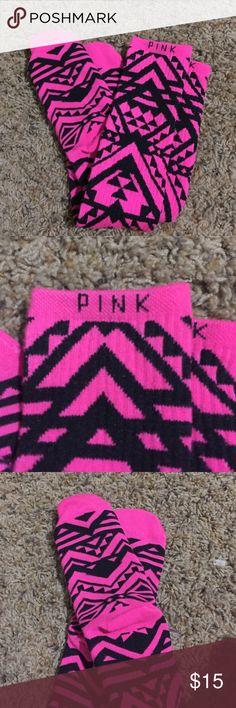 PINK knee high socks ! RARE PINK Victoria's Secret knee high socks. Pink and black design. Super cute! NWOT. Never worn them! PINK Victoria's Secret Accessories Hosiery & Socks
