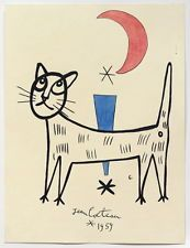 JEAN COCTEAU Curious drawing painting. Signed and dated. Ink and watercolor