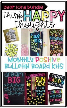 Think Happy Thoughts! Create a POSITIVE Bulletin Board or Door Decor with these monthly kits! Includes letters for a positive quote writing pages and coordinating crafts! Kindness Bulletin Board, Classroom Bulletin Boards, Classroom Door, Future Classroom, Classroom Themes, School Classroom, Classroom Organization, Classroom Design, Preschool Bulletin