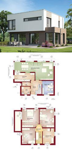 Stadtvilla Bauhausstil   Haus Evolution 143 V10 Bien Zenker   Modernes Architektenhaus Flachdach Grundriss offene Küche Erker Fertighaus   HausbauDirekt.de
