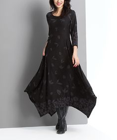 Reborn Collection Black Falling Petal Handkerchief Maxi Dress | zulily