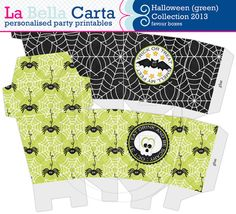 Halloween (green) Favour Boxes Halloween Party, Printable Party, Party Decor, Favour Box, DIY Favours, Spooky halloween