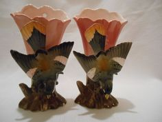 VINTAGE PAIR OF CERAMIC VASES - WALL POCKETS WITH A 3-D BIRD - JAPAN