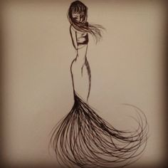 Lady of hair? Not sure what to name this one. Quick sketch with pen.