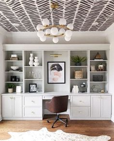 The Most Unexpectedly Beautiful Place to Put Wallpaper? Your Ceiling – Home Office Wallpaper Home Office Space, Home Office Design, Home Office Decor, Dining Room Office, Office Den, Office Spaces, Wall Paper Dining Room, Office With Couch, Home Office Shelves