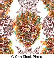 pattern with african tribal mask - Seamless pattern with...
