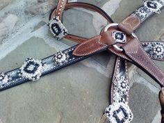 AB Crystals and Black Rocks Custom Tack Set by RodeoMoon on Etsy