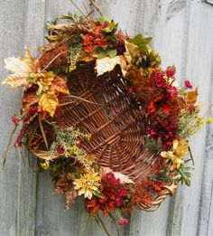 Fall Wreath Autumn Centerpiece Fall Country by NewEnglandWreath, $89.00