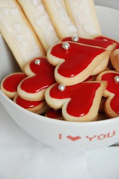 red heart cookies with a dreggee accent