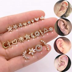 Sellsets Gold Color Cross Moon Star Flower CZ Tragus Cartilage Stainless Steel Ear Stud Piercing Crystal Daith Earring Main Stone Color White Metal color A Faux Piercing, Ear Piercings, Tragus, Daith Earrings, Initial Earrings, Star Flower, Minimalist Earrings, Ear Studs, Earring Studs