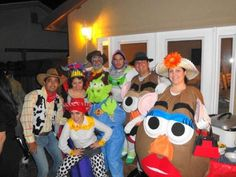 Group Toy Story homemade costumes. Great example of mrs. Potato head