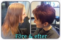 Before and after, haircut and haircolor