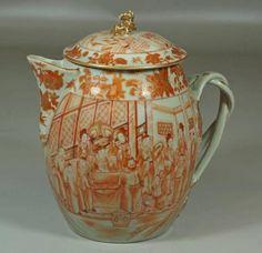 "Chinese Export Porcelain orange decorated Mandarin cider jug, foo dog lid, strap handles, tiny chip to foo dog ear, 9"" h"
