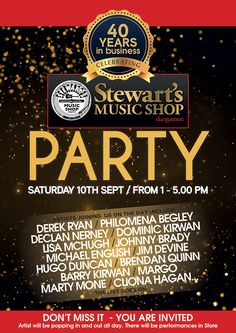 For 40 years, Stewart's Music Shop on Irish Street has proudly has been a step ahead of the beat, keeping the people of Dungannon and Tyrone in tune with music and song and to celebrate, they're having a birthday bash! On Saturday 10th September singing stars from across the decades, old and new will join …