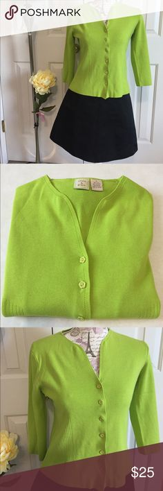 Olivia & Grace Cardigan Adorable Lime Green Cardigan from Olivia & Grace. Cute flower shaped buttons for front closure. Ribbed sides. 1/4 sleeves. V neck. Silk blend. No flaws. Excellent preloved condition. Olivia & Grace Sweaters Cardigans
