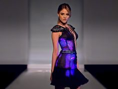 """""""The Pink Dress was designed by Francesca Rosella for the mexican singer and actress Eiza Gonzalez.The dress is the first ever iPhone controlled haute-couture dress."""" (CuteCircuit)"""