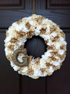 Monogram Wreath made with tea stained coffee filters. Monogram Wreath, Diy Wreath, Door Wreaths, Letter Wreath, Paper Wreaths, Gold Wreath, Letter Monogram, Wreath Making, Coffee Filter Wreath