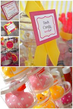 This was for my daughter's 2nd birthday party.  Pink and yellow were the colors and we used bubbles and rubber ducks as party favors.