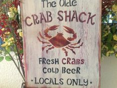 The Olde Crab shack, primitive wood sign, home decor, beach signs, fish, beer, on Etsy, $28.00