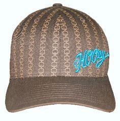bc7e0f94b15 Kids Cowboy Hats HOOey Geo Pinstripe Brown WIth Tan Geometric Pattern HOOey  logo in Blue Flex Fit Cowboy Cap