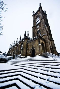The Bombed Out Church, St Lukes, Liverpool in the snow