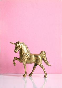 Vintage Mid Century Brass Unicorn Figurine :: Wise Apple Vintage