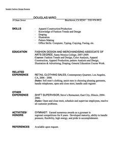 sample fashion design resume httpexampleresumecvorgsample fashion - Sample Resume For Fashion Designer