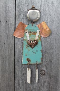 copper and turquoise OOAK rustic angel made from recycled metals for Christmas or just for wall decor