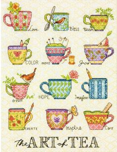 Dimensions The Art Of Tea - Cross Stitch Kit. Cross stitch kit featuring teacups. This kit contains 14-count white Aida, presorted thread, one needle and easy t