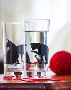 "Cat and Yarn Glassware available from ""Mary Elizabeth Arts"" $9.95"
