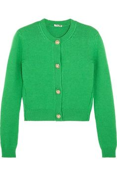 Miu Miu - Cropped Embellished Cashmere Cardigan - Green - IT42