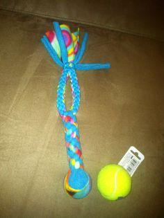 Fleece Tug with Handle and Squeaker Ball - $8.50