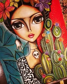 Image in Admin's images album Art Pop, Arte Latina, Frida Art, Art Watercolor, Arte Popular, Whimsical Art, Big Eyes, Fabric Painting, Mixed Media Art
