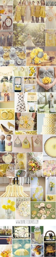vintage yellow wedding inspiration from www.burnettsboards.com ---- I love the buttons on the cake!!
