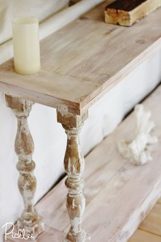 DIY RECLAIMED SOFA TABLE! Using re-purposed pine floors & antique balusters, aged with apple cider vinegar & chalk paint!