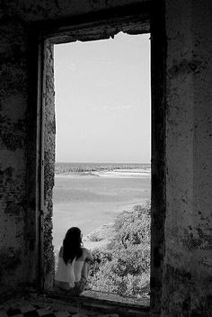 Finding solitude in the concrete jungle is powerful and peaceful. Photos Black And White, Black N White, Black And White Photography, Through The Window, Peaceful Places, Portrait, The Dreamers, Serenity, Journey