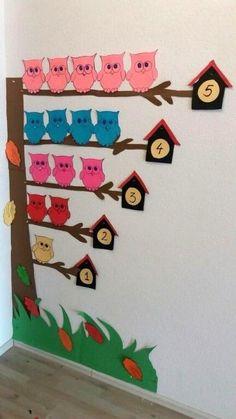 Preschool Classroom Decor, Diy Classroom Decorations, Preschool Art Activities, Classroom Walls, Toddler Learning Activities, School Decorations, Class Decoration, Owl Classroom, Counting Activities