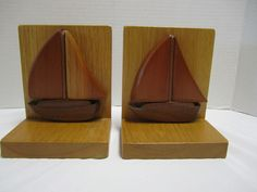 Pair VIntage Wood Sailboat Bookends Nautical Cape Cod Cottage Beach Decor