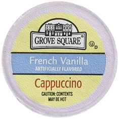 Grove Square Cappuccino, Single Serve Cup for Keurig K-Cup Brewers( French Vanilla ) - 18 K-Cup pack: Grove Square French Vanilla Cappuccino Single Serve Cups for Keurig K-Cup Brewers: 18 K-Cup pack French Vanilla Cappuccino, Double Espresso, Single Serve Coffee, Italian Coffee, K Cups, Coffee Machine, Best Coffee, Keurig, Coffee Drinks
