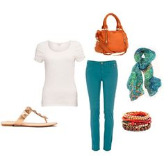 Love blue and orange together! Beautiful Outfits, Beautiful Women, Teal Pants, I Feel Pretty, Love Blue, Spring Looks, Colored Jeans, White Tops, Fasion