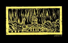 Love the Chapel in Black & Gold. Art by Butler Wake Forest University, The Pa, Gold Art, Butler, Black Gold, Vibrant, Memories, Spaces, History