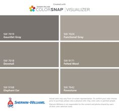 I found these colors with ColorSnap® Visualizer for iPhone by Sherwin-Williams: Mindful Gray (SW Repose Gray (SW Agreeable Gray (SW Slate Tile (SW Magnetic Gray (SW Silvermist (SW Exterior Paint Colors, Paint Colors For Home, Tinta Sherwin Williams, Dovetail Sherwin Williams, Urbane Bronze Sherwin Williams, Sherwin Williams Silver Strand, Passive Sherwin Williams, Wall Colors, House Colors