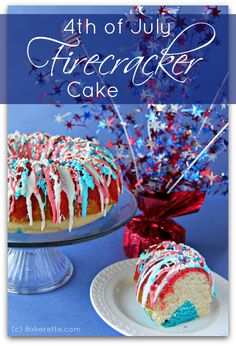 The 4th of July is the perfect time to showcase red, white and blue desserts; like this quick and easy Firecracker Cake recipe! So fun and festive!