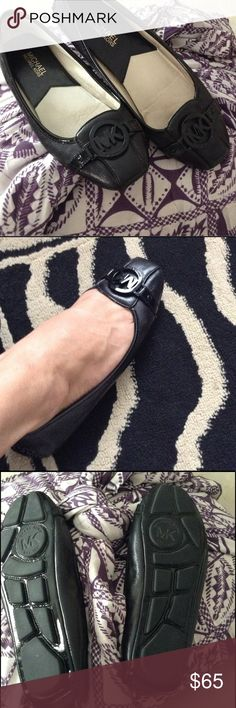 MICHAEL KORS BLACK SLIP ON LEATHER FLATS 7 M MICHAEL KORS BLACK  LEATHER FLATS WITH RUBBER SOLES, PERFECT FOR TIRED FEET! GENTLE WEAR, 7 M Michael Kors Shoes Flats & Loafers